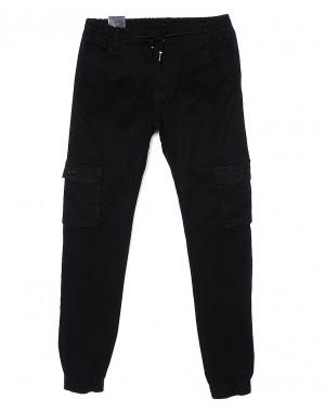 6811 Baron брюки мужские молодежные черные на манжете весенние стрейчевые (28-36, 8 ед.)