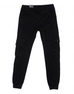 6822 Baron брюки мужские молодежные черные на манжете весенние стрейчевые (27-34, 8 ед.)
