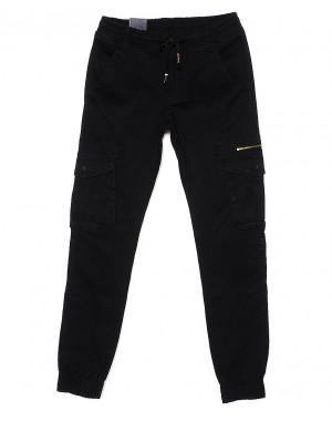 6819 Baron брюки мужские молодежные черные на манжете весенние стрейчевые (28-36, 8 ед.)