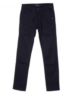 0363-2 Pobeda брюки мужские молодежные с косым карманом темно-синие весенние стрейчевые (27-34, 8 ед.)