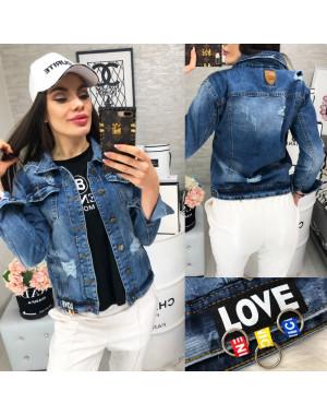 A 0201-9 Relucky куртка джинсовая женская с рванкой весенняя стрейчевая (S-3XL, 6 ед.)
