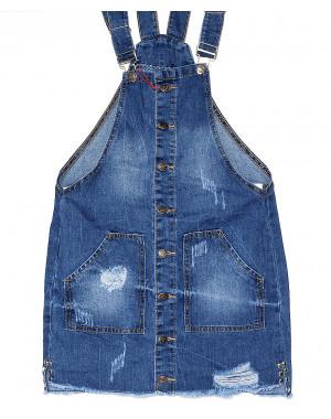 Y 0032-12 Relucky женский джинсовый комбинезон-юбка с рванкой и царапками весенний котоновый (25-30, 6 ед.)
