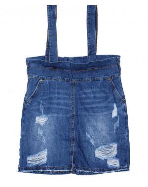 V 0033-12 Relucky юбка джинсовая с лямками весенняя котоновая (25-30, 6 ед.)