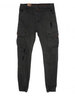 8666-5 серые Iteno джоггеры мужские с боковыми карманами серые весенние стрейч-котон (29-38, 10 ед.)