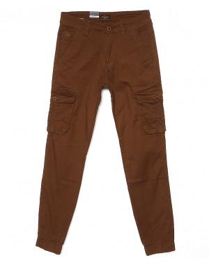 140064-X LS брюки мужские молодежные на манжете коричневые весенние стрейчевые (27-34, 8 ед.)