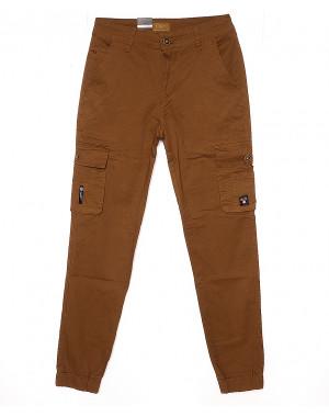 140066-X LS брюки мужские молодежные на манжете коричневые весенние стрейчевые (27-34, 8 ед.)