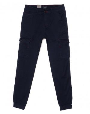140060-X LS брюки мужские молодежные на манжете темно-синие весенние стрейчевые (27-34, 8 ед.)