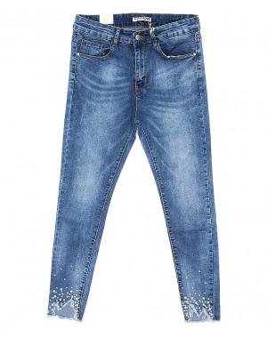 0813 M.Sara джинсы женские батальные с декоративной отделкой весенние стрейчевые (29-36, 6 ед.)