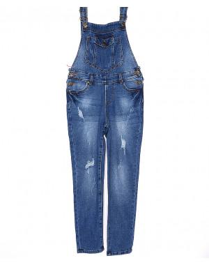 A 0334-10 Relucky комбинезон джинсовый женский с рванкой весенний стрейчевый (25-30, 6 ед.)