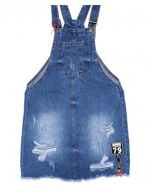 Y 0035-12 Relucky комбинезон-юбка джинсовый с рванкой весенний котоновый (25-30, 6 ед.)