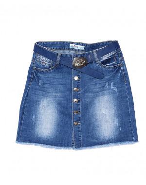 4821 Zijinyan юбка джинсовая батальная на пуговицах весенняя стрейчевая (30-36, 6 ед.)