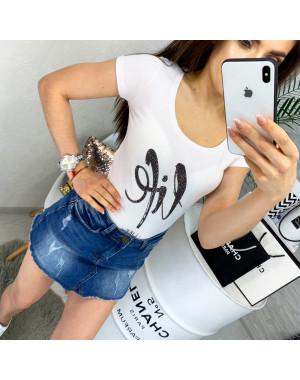 0103 белая MMC футболка женская со стразами стрейчевая (S-XL, 4 ед.)