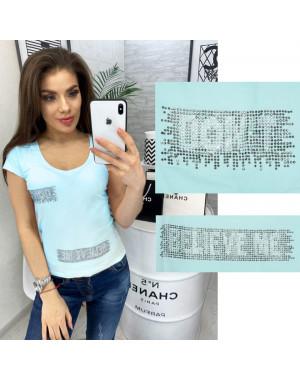0118 голубая MMC футболка женская со стразами стрейчевая (S-XL, 4 ед.)
