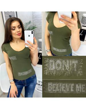0118-02 хаки MMC футболка женская со стразами стрейчевая (S-XL, 4 ед.)