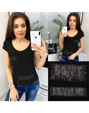 0118 черная MMC футболка женская со стразами стрейчевая (S-XL, 4 ед.)