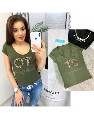 0122 хаки MMC футболка женская с принтом стрейчевая (S-XL, 4 ед.)