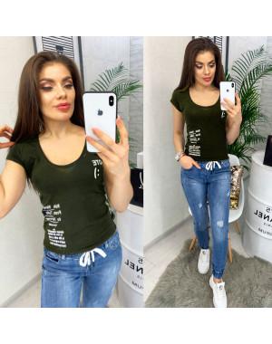 0116 хаки MMC футболка женская с принтом стрейчевая (S-XL, 4 ед.)