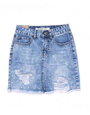 1058 M.Sara юбка джинсовая с жемчугом и рванкой котоновая (XS-XXL, 6 ед.)