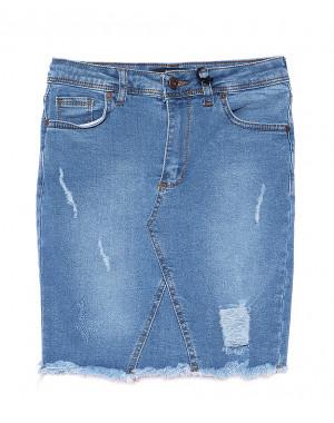 0699 Happy Pink юбка джинсовая с рванкой и царапками стрейчевая (S-XL, 6 ед.)