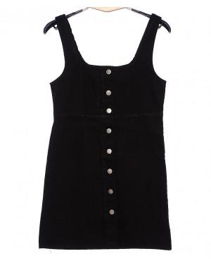 0131 черный Defile сарафан джинсовый на пуговицах весенний котоновый (34-40, евро, 6 ед.)