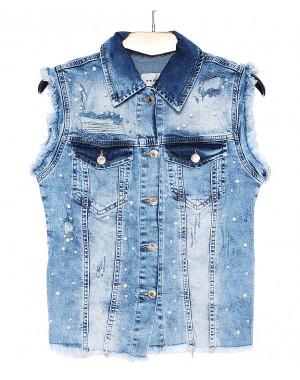 1095 синий Its Basic жилетка джинсовая женская с жемчугом весенняя стрейчевая (34-42, евро, 6 ед.)