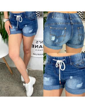 7033 New jeans шорты джинсовые женские на резинке с рванкой котоновые (25-30, 6 ед.)