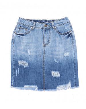 7027 New jeans юбка джинсовая с рванкой котоновая (25-30, 6 ед.)