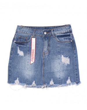 7069 New jeans юбка джинсовая с рванкой котоновая (25-30, 6 ед.)