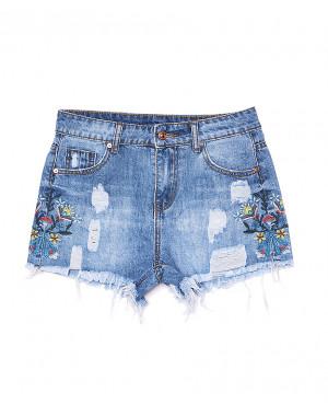 7057 New jeans шорты джинсовые женские с декоративной отделкой котоновые (25-30, 6 ед.)
