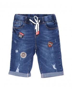 5061 New jeans шорты джинсовые мужские на резинке с рванкой и царапками стрейчевые (29-38, 8 ед.)