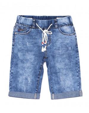 5072 New jeans шорты джинсовые мужские молодежные на резинке с царапками стрейчевые (28-36, 8 ед.)