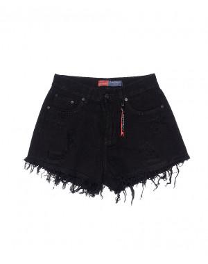 V 0034-15 Relucky шорты джинсовые женские черные с рванкой котоновые (25-30, 6 ед.)