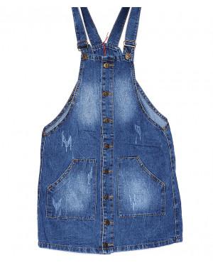 A 0031-12 Relucky комбинезон-юбка джинсовый женский летний котоновый (25-30, 6 ед.)