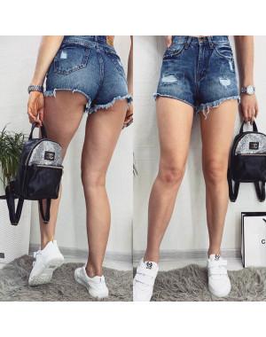 A 0018-12 Relucky шорты джинсовые женские с рванкой и царапками котоновые (25-30, 6 ед)
