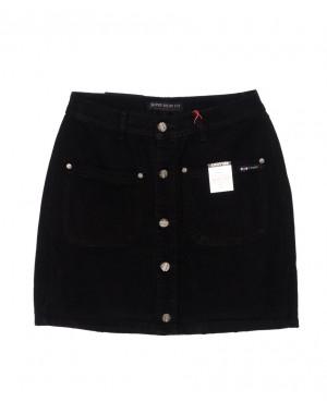 V 0411-1 Relucky юбка джинсовая на пуговицах черная осенняя котоновая (25-30, 6 ед.)