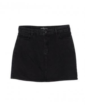 6010-B1 Real Focus юбка батальная джинсовая черная осенняя котоновая (30-34, 5 ед.)