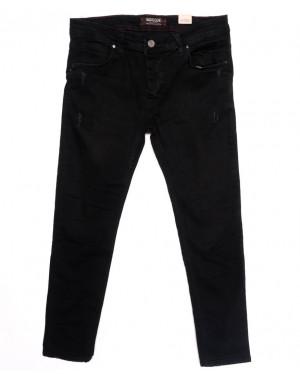 5915 Denim джинсы мужские батальные с царапками черные осенние стрейчевые (32-40, 8 ед.)