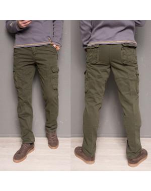 1863-army green Forex брюки мужские карго на флисе зимние стрейч-котон (30-40, 10 ед.)