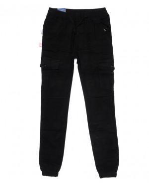 6611 REIGOUSE джинсы мужские молодежные на резинке черные осенние стрейчевые (27-34, 8 ед)