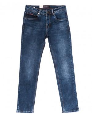 0063 Longli джинсы мужские полубатальные синие на байке стрейчевые (32-38, 8 ед.)