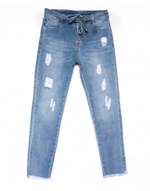 3592 New jeans мом голубой с царапками весенний коттоновый (25-30, 6 ед.)