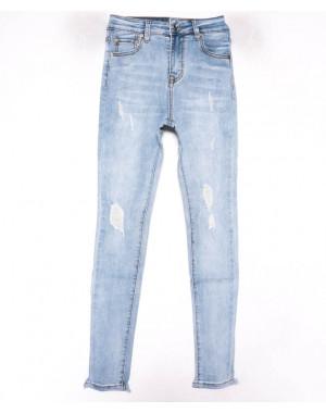 3599 New jeans американка голубая с царапками весенняя стрейчевая (25-30, 6 ед.)