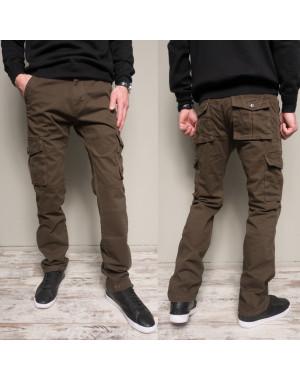 8813-2 коричневые Iteno брюки мужские карго цвета хаки осенние стрейчевые (30-38,6/12 ед.)