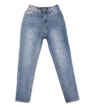 3654 New jeans мом с царапками синий весенний коттоновый (25-30, 6 ед.)