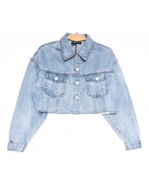9106 Saint Wish куртка короткая джинсовая женская синяя весенняя коттоновая (ХS-XL, 5 ед.)