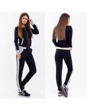 2038-02 серо-черный женский спортивный костюм весенний стрейчевый (42-46, 3 ед.)