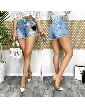 0963 Fleur шорты джинсовые женские с аппликацией котоновые (25-30, 6 ед.)