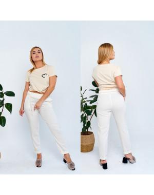 19801-1 молочные брюки женские батальные из льна коттоновые (4 ед. размеры: 50.52.54.56)