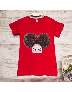 Красная женская футболка с принтом Carla Mara 3207-1