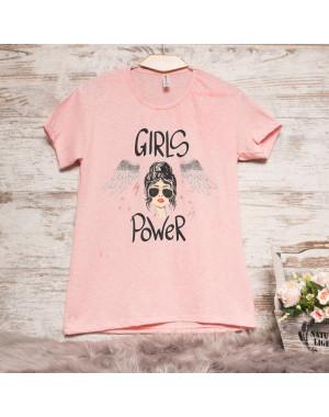Пудровая женская футболка с принтом Akkaya 3200-3